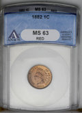 1882 1C MS63 Red ANACS. NGC Census: (2/57). PCGS Population (14/188). Mintage: 38,581,100. Numismedia Wsl. Price: $185...