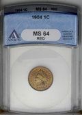 1904 1C MS64 Red ANACS. NGC Census: (132/134). PCGS Population (241/230). Mintage: 61,328,016. Numismedia Wsl. Price: $1...