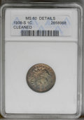 1908-S 1C Brown--Cleaned--ANACS. MS60 Details. NGC Census: (0/220). PCGS Population (7/94). Mintage: 1,115,000. Numismed...