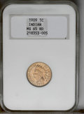 1909 1C MS65 Red NGC. NGC Census: (236/29). PCGS Population (554/142). Mintage: 14,370,645. Numismedia Wsl. Price: $492...