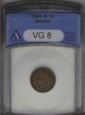 1909-S 1C VG8 ANACS. NGC Census: (60/1128). PCGS Population (35/1171). Mintage: 309,000. Numismedia Wsl. Price: $291. (#...