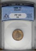 1866 1C PR63 Red and Brown ANACS. NGC Census: (7/60). PCGS Population (18/109). Mintage: 725. Numismedia Wsl. Price: $38...