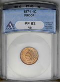1871 1C PR63 Red and Brown ANACS. NGC Census: (19/101). PCGS Population (34/121). Mintage: 960. Numismedia Wsl. Price: $...