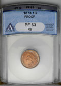 1873 1C Closed 3 PR63 Red and BrownANACS. NGC Census: (15/121). PCGS Population (28/144). Mintage: 1,100. Numismedia Wsl...