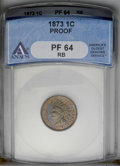 1873 1C Closed 3 PR64 Red and BrownANACS. NGC Census: (62/59). PCGS Population (114/30). Mintage: 1,100. Numismedia Wsl...