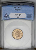1878 1C PR64 Red and Brown ANACS. NGC Census: (75/61). PCGS Population (127/46). Mintage: 2,350. Numismedia Wsl. Price:...