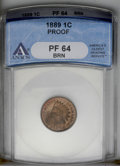 Proof Indian Cents: , 1889 1C PR64 Brown ANACS. NGC Census: (40/48). PCGS Population (39/27). Mintage: 3,336. Numismedia Wsl. Price: $176. (#2354...