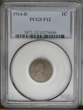 Lincoln Cents: , 1914-D 1C F12 PCGS. PCGS Population (127/1404). NGC Census: (176/1625). Mintage: 1,193,000. Numismedia Wsl. Price: $230. (#...