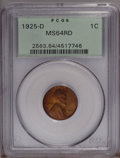 Lincoln Cents: , 1925-D 1C MS64 Red PCGS. PCGS Population (201/39). NGC Census: (66/7). Mintage: 22,580,000. Numismedia Wsl. Price: $336. (#...