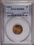 1925-S 1C MS64 Red and Brown PCGS. PCGS Population (88/7). NGC Census: (48/9). Mintage: 26,380,000. Numismedia Wsl. Pric...