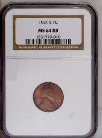 1931-S 1C MS64 Red and Brown NGC. NGC Census: (407/211). PCGS Population (337/71). Mintage: 866,000. Numismedia Wsl. Pri...