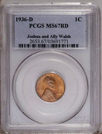 1936-D 1C MS67 Red PCGS. PCGS Population (78/0). NGC Census: (370/2). Mintage: 40,620,000. Numismedia Wsl. Price: $300...