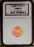 1982 1C Small Date Zinc MS68 Red NGC. NGC Census: (0/0). PCGS Population (23/0). (#3047)...(PCGS# 3047)