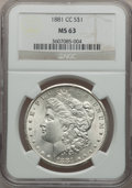 Morgan Dollars: , 1881-CC $1 MS63 NGC. NGC Census: (2093/6404). PCGS Population(4139/12938). Mintage: 296,000. Numismedia Wsl. Price for pro...