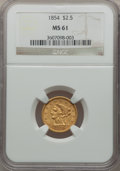 Liberty Quarter Eagles: , 1854 $2 1/2 MS61 NGC. NGC Census: (131/207). PCGS Population(18/127). Mintage: 596,258. Numismedia Wsl. Price for problem ...