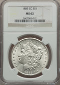 Morgan Dollars: , 1885-CC $1 MS62 NGC. NGC Census: (818/8229). PCGS Population(1486/16756). Mintage: 228,000. Numismedia Wsl. Price for prob...