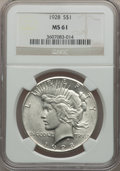 Peace Dollars: , 1928 $1 MS61 NGC. NGC Census: (554/3729). PCGS Population(277/5668). Mintage: 360,649. Numismedia Wsl. Price for problemf...