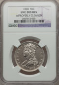 Reeded Edge Half Dollars: , 1838 50C -- Improperly Cleaned -- NGC Details. Unc. NGC Census:(6/282). PCGS Population (10/216). Mintage: 3,546,000. Numi...