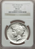 Peace Dollars, 1921 $1 Peace, High Relief MS62 NGC. NGC Census: (1825/7465). PCGSPopulation (1943/8756). Mintage: 1,006,473. Numismedia W...