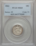 Seated Dimes: , 1862 10C MS64 PCGS. PCGS Population (43/31). NGC Census: (54/45).Mintage: 847,000. Numismedia Wsl. Price for problem free ...