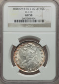 Bust Half Dollars, 1828 50C Square Base 2, Small 8, Large Letters, O-113, R.3 AU58NGC. NGC Census: (49/45). PCGS Population (62/87)....