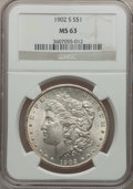 Morgan Dollars: , 1902-S $1 MS63 NGC. NGC Census: (789/922). PCGS Population(1420/1736). Mintage: 1,530,000. Numismedia Wsl. Price for probl...