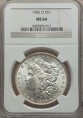 Morgan Dollars: , 1903-O $1 MS64 NGC. NGC Census: (2556/1698). PCGS Population(4057/2732). Mintage: 4,450,000. Numismedia Wsl. Price for pro...