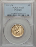 Modern Issues: , 1992-W G$5 Olympic Gold Five Dollar MS69 PCGS. PCGS Population(1758/351). NGC Census: (0/0). Mintage: 27,732. Numismedia W...