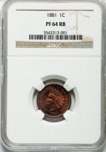 Proof Indian Cents: , 1881 1C PR64 Red and Brown NGC. NGC Census: (82/120). PCGS Population (181/108). Mintage: 3,575. Numismedia Wsl. Price for ...
