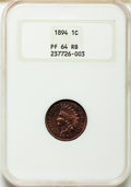 Proof Indian Cents: , 1894 1C PR64 Red and Brown NGC. NGC Census: (73/54...