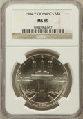 Modern Issues: , 1984-P $1 Olympic Silver Dollar MS69 NGC. NGC Census: (1343/55).PCGS Population (1883/37). Mintage: 217,000. Numismedia Ws...