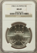 Modern Issues: , 1984-S $1 Olympic Silver Dollar MS69 NGC. NGC Census: (976/2). PCGSPopulation (1238/6). Mintage: 116,000. Numismedia Wsl. ...
