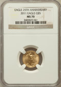 Modern Bullion Coins, 2011 $5 Tenth-Ounce Gold Eagle, 25th Anniversary MS70 NGC. NGCCensus: (512). PCGS Population (6). ...