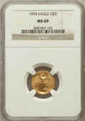 Modern Bullion Coins: , 1994 G$5 Tenth-Ounce Gold Eagle MS69 NGC. NGC Census: (1542/335).PCGS Population (883/7). Mintage: 206,380. Numismedia Wsl...