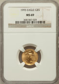 Modern Bullion Coins: , 1995 G$5 Tenth-Ounce Gold Eagle MS69 NGC. NGC Census: (1464/162).PCGS Population (825/9). Mintage: 223,025. Numismedia Wsl...