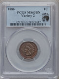Indian Cents: , 1886 1C Type Two MS63 Brown PCGS. Ex: Eagle Eye Photo Seal. PCGSPopulation (29/20). NGC Census: (41/36). Numismedia Wsl. ...