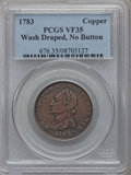 Colonials: , 1783 1C Washington & Independence Cent, Draped Bust, No ButtonVF35 PCGS. PCGS Population (19/87). NGC Census: (1/26). ...