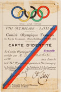 Autographs:Others, 1924 Ethel Lackie Signed Paris Olympics Identification Badge....