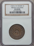 Colonials: , 1767-A 9DEN French Colonies Copper Sou, RF Counterstamp XF40 NGC.NGC Census: (4/14). PCGS Population (13/25). ...