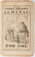 Books:Americana & American History, [Americana] The Funny Fellows' Almanac For 1861. P. J.Cozans, [1861]. Illustrated. String bound. Printed wrappe...