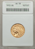 Indian Half Eagles: , 1913 $5 AU58 ANACS. NGC Census: (1731/9503). PCGS Population(1128/6403). Mintage: 915,900. Numismedia Wsl. Price for probl...