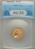 1908-D $5 AU53 ANACS. NGC Census: (9/2726). PCGS Population (13/3107). Mintage: 148,000. Numismedia Wsl. Price for probl...