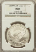 Modern Issues, 2008-P $1 Bald Eagle MS69 NGC. NGC Census: (2391/6521). PCGSPopulation (2238/843). Numismedia Wsl. Price for problem free...