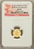 Australia: , 2012-P G$5 Year of the Dragon MS69 NGC. NGC Census: (492/1024).PCGS Population (523/0)....