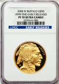 Modern Bullion Coins, 2008-W $50 Buffalo Early Releases PR70 Ultra Cameo NGC. .9999 Fine.NGC Census: (1506). PCGS Population (384)....