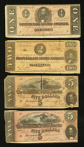 Confederate Notes:1864 Issues, T69 $5 1864 Two Examples;. T70 $2 1864;. T71 $1 1864.. ... (Total: 4 notes)