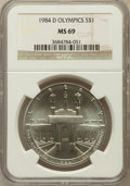 Modern Issues: , 1984-D $1 Olympic Silver Dollar MS69 NGC. NGC Census: (988/10).PCGS Population (1422/7). Mintage: 116,000. Numismedia Wsl....