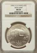 Modern Issues: , 1996-D $1 Olympic/High Jump Silver Dollar MS69 NGC. NGC Census:(534/87). PCGS Population (987/90). Numismedia Wsl. Price ...