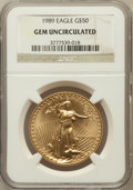 Modern Bullion Coins, 1989 G$50 One-Ounce Gold Eagle Gem Uncirculated NGC. NGC Census:(1/866). PCGS Population (8/762). Mintage: 415,790. Numism...
