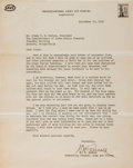 """Autographs:Military Figures, Henry H. """"Hap"""" Arnold Typed Letter Signed...."""